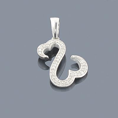 Double Heart Pendant in Sterling Silver 0.15ct Diamonds
