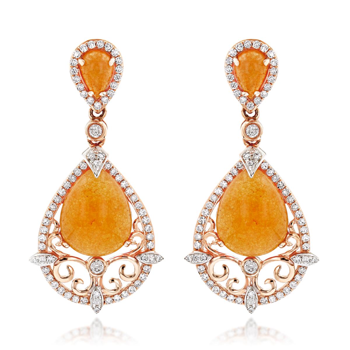 Orange Aventurine Gemstone Diamond Earrings 7.56ct 14K Gold