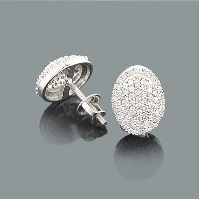 Oval Halo Diamond Earrings 0.54ct 14K Gold