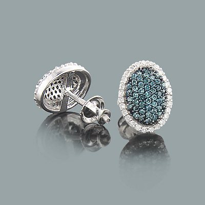 Oval Halo Earrings with White and Blue Diamonds 0.53ct 14K