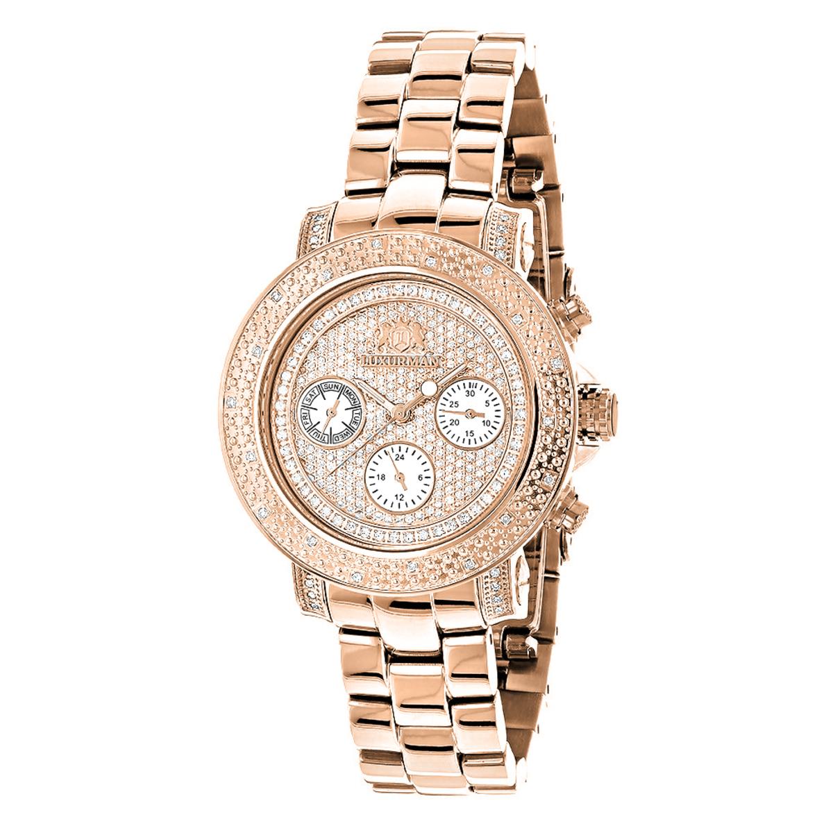 Oversized Ladies Diamond Watch Rose Gold Plated Swiss Mvt Luxurman Montana