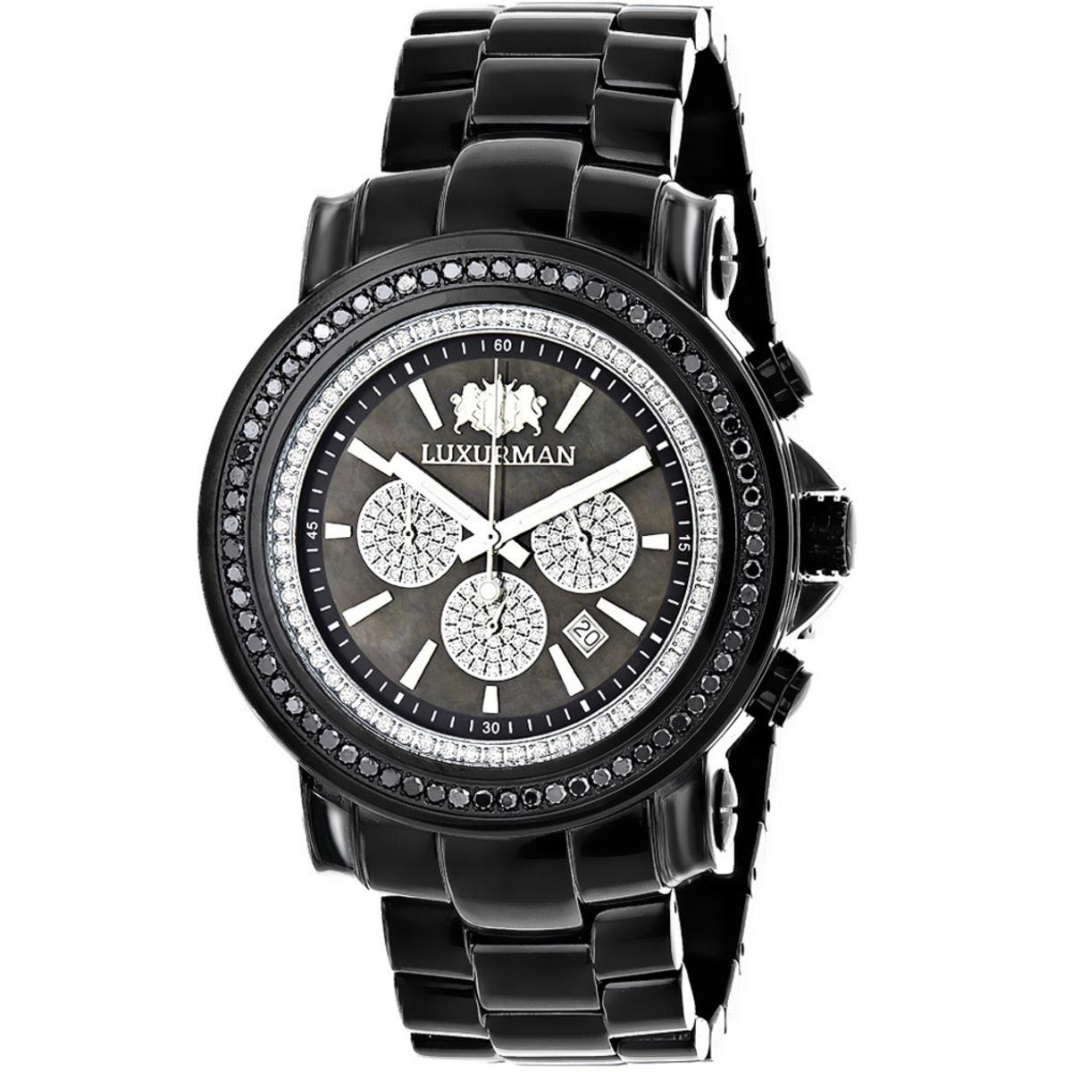 Oversized Mens Black Diamond Watch by Luxurman 3ct Chronograph Escalade
