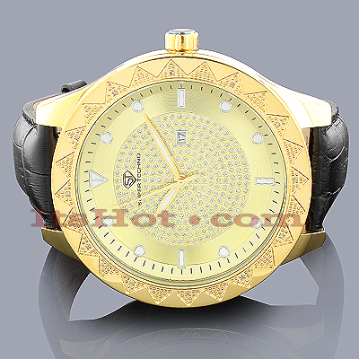 Oversized Watches Mens Diamond Watch 0.12ct