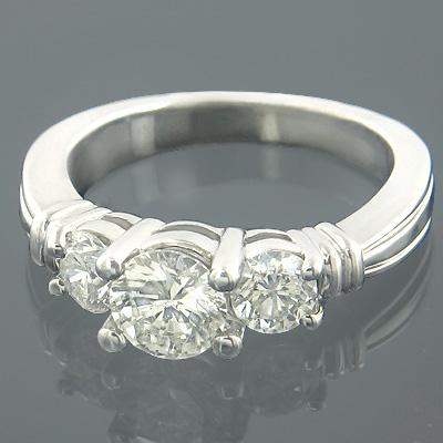 Past Present Future 14K Gold 3 Stone Diamond Egagement Ring 1ct
