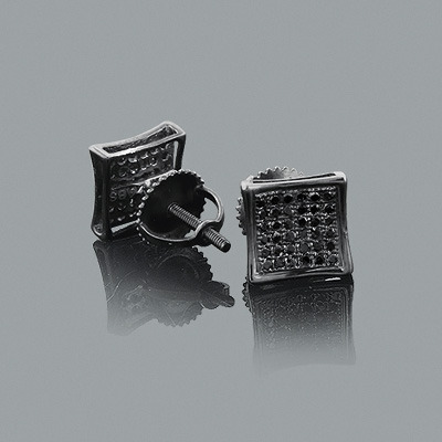 Pave Black Diamond Earrings 0.35ct Sterling Silver Black PVD