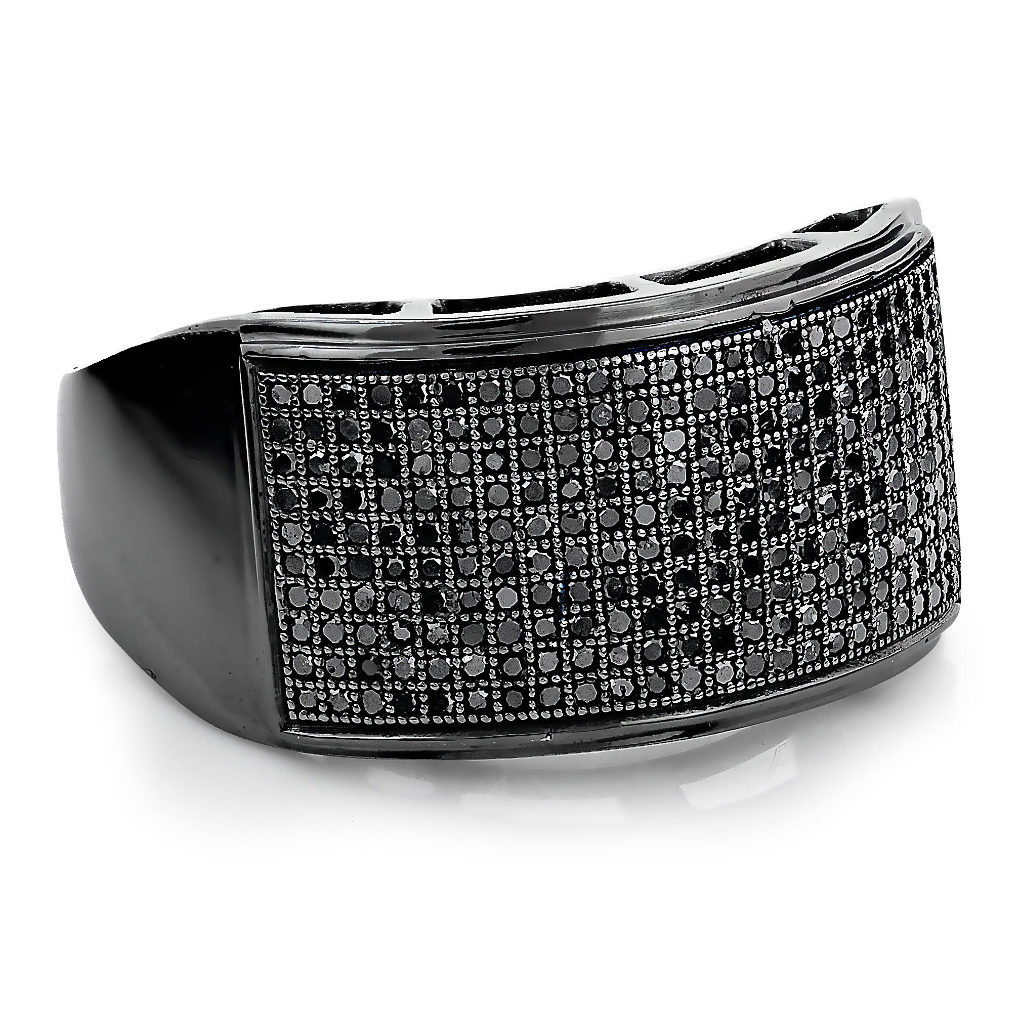 Mens Pave Black Diamond Ring 10K Gold Band 0.68ct