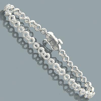 Pave Bracelets 14K Gold Ladies Diamond Bracelet 1.31ct