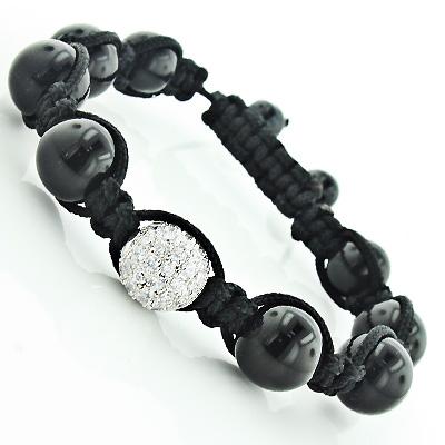 Pave Crystal Disco Ball Beads Bracelet