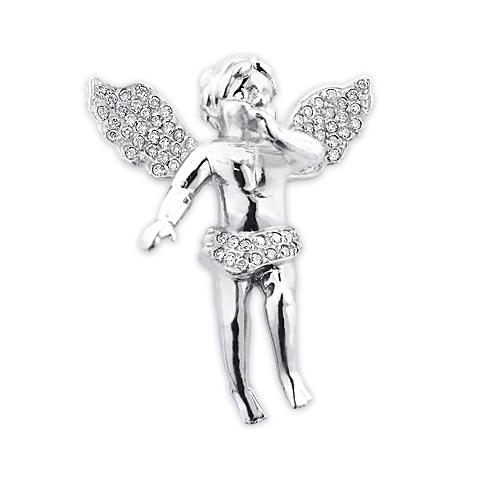 Pave Diamond Angel Pendant 14K Gold 0.88ct Small Angel Charm