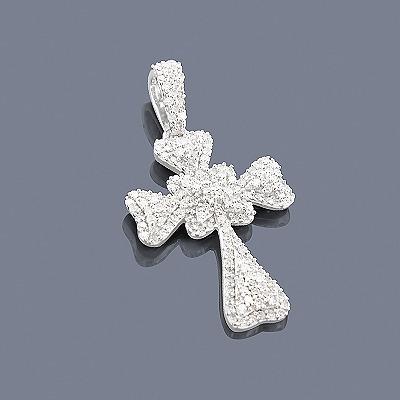 Pave Diamond Cross Pendant 0.56ct 14K