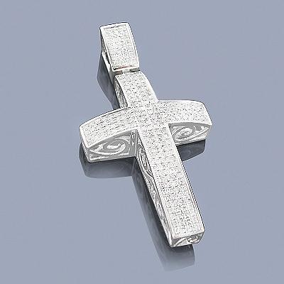 Pave Diamond Cross Pendant 1.48ct Sterling Silver