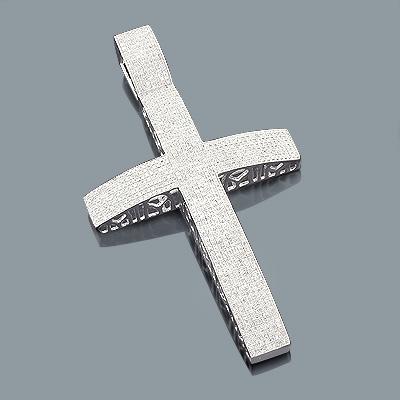 Pave Diamond Cross Pendant 3.96ct Silver