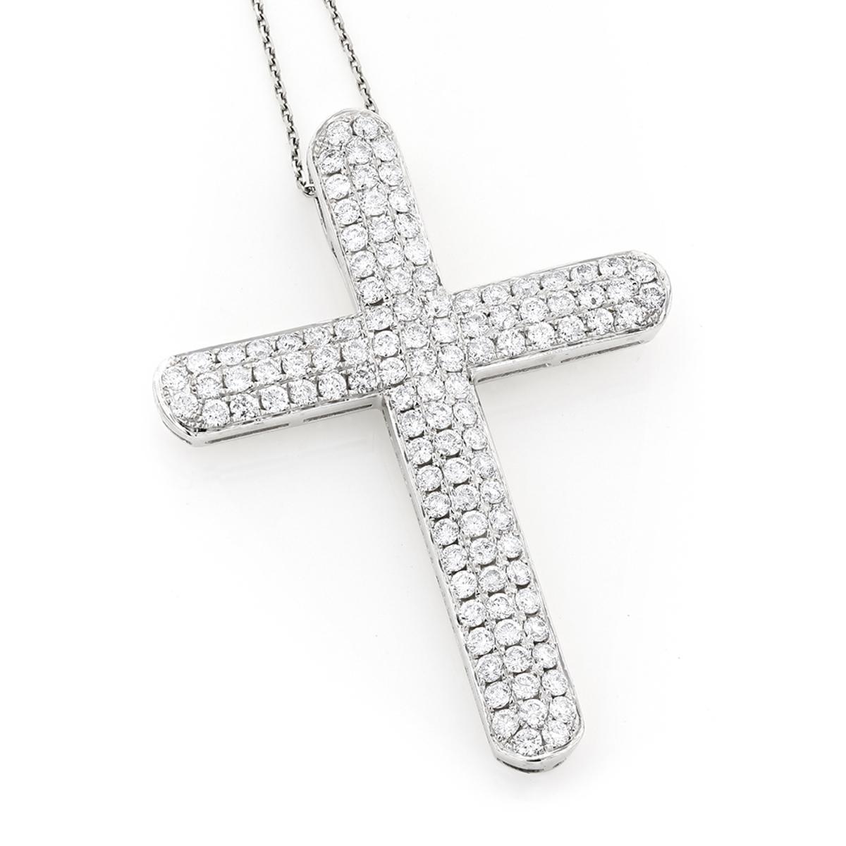 Pave Diamond Cross Pendant 4.06ct 14K