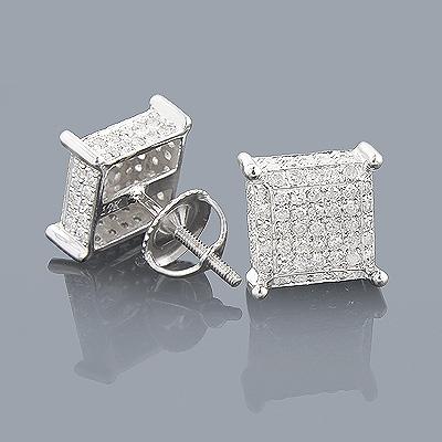 Pave Diamond Earrings 0.9ct 10K Gold Studs