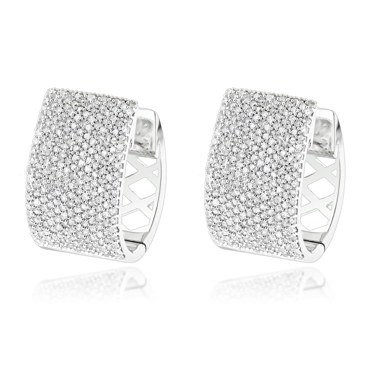 Pave Diamond Earrings for Women 14K Gold 1 Carat Small Wide Hoops