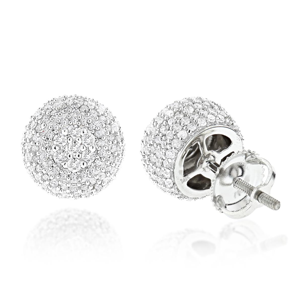 Pave Diamond Earrings 14K Gold Studs 1.32ct