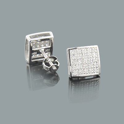 Pave Diamond Earrings in 10K Gold 0.18ct