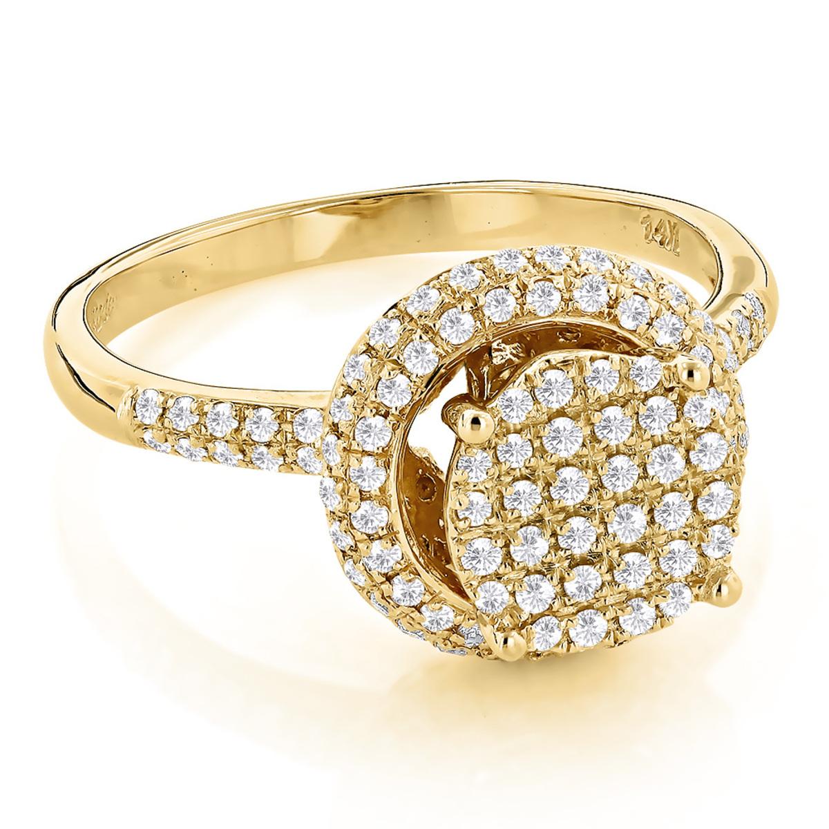 Pave Diamond Engagement Ring 0.64ct 14K