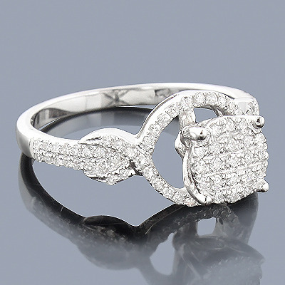 Pave Diamond Engagement Ring 14K 0.44ct