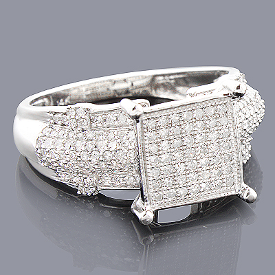 Pave Diamond Engagement Ring 14K 0.65ct