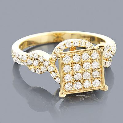 Pave Diamond Engagement Ring 14K 0.74ct