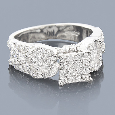 Pave Diamond Engagement Ring 14K 1.30ct