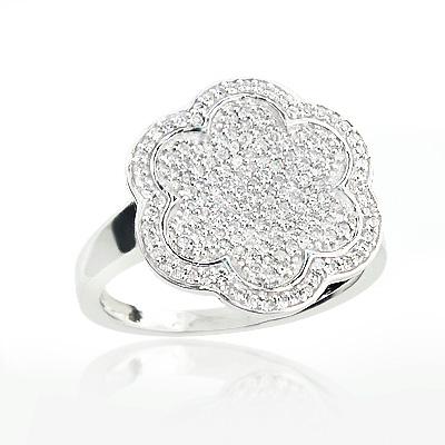 Pave Diamond Flower Ring 0.58ct 14K Gold