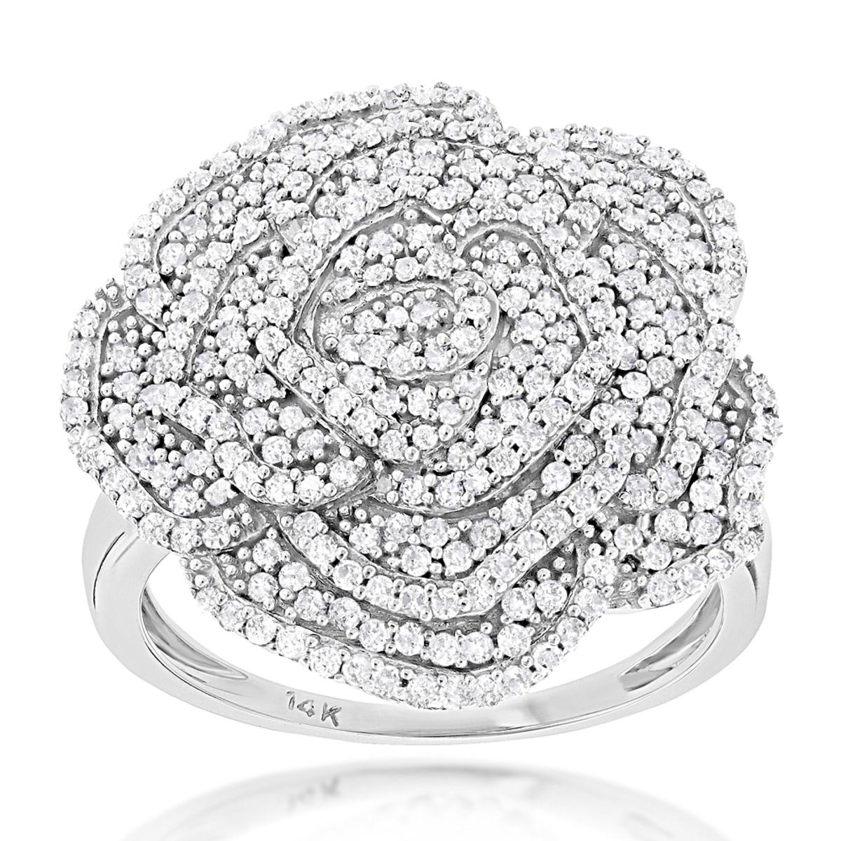 Pave Diamond Flower Ring 0.92ct 14K Gold