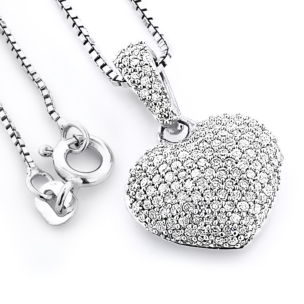 Pave diamond heart pendant 048ct sterling silver mozeypictures Images