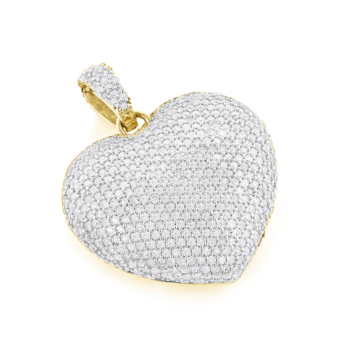 Pave Diamond Heart Pendant 14K Gold 2 carats