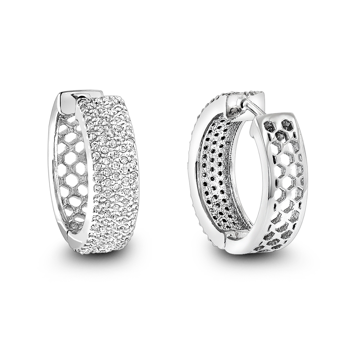 Pave Diamond Hoop Earrings 1.20ct 14K Gold