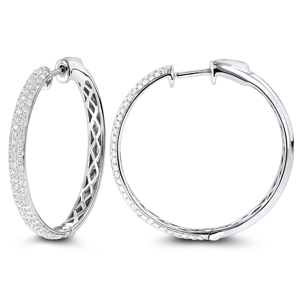 Pave Diamond Hoop Earrings 14K 2.25ct
