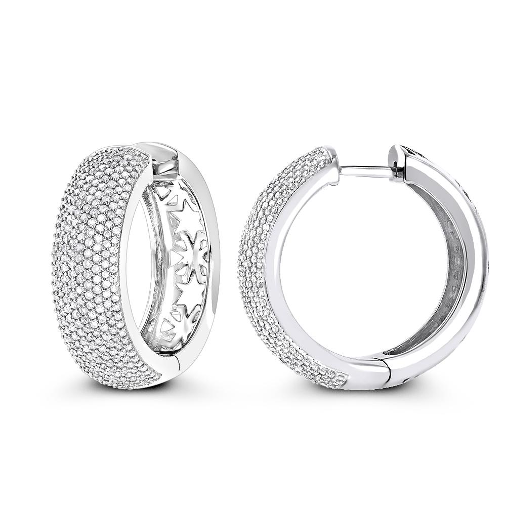 Pave Diamond Hoop Earrings 1.5ct 14K
