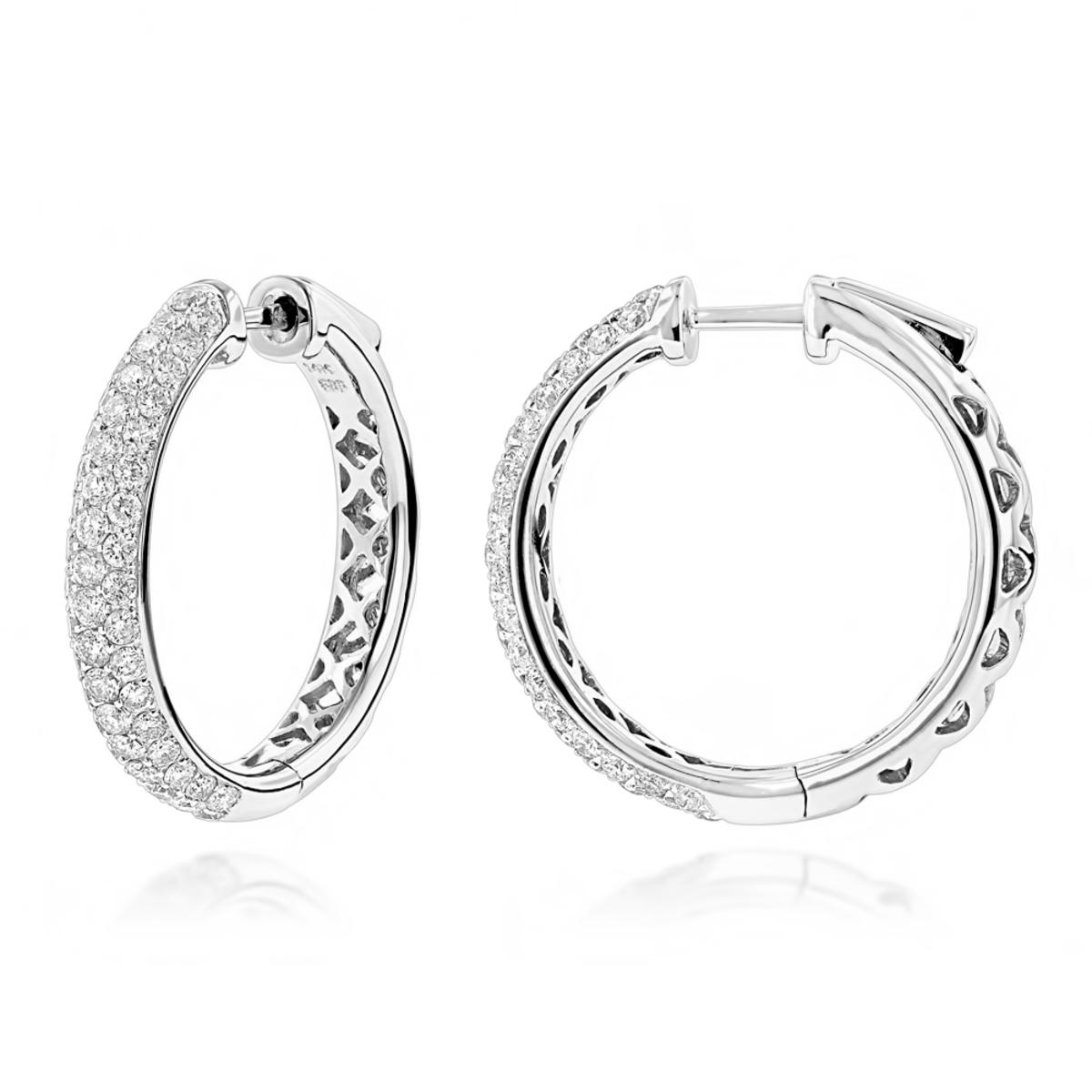 Pave Diamond Hoop Earrings 2.45ct