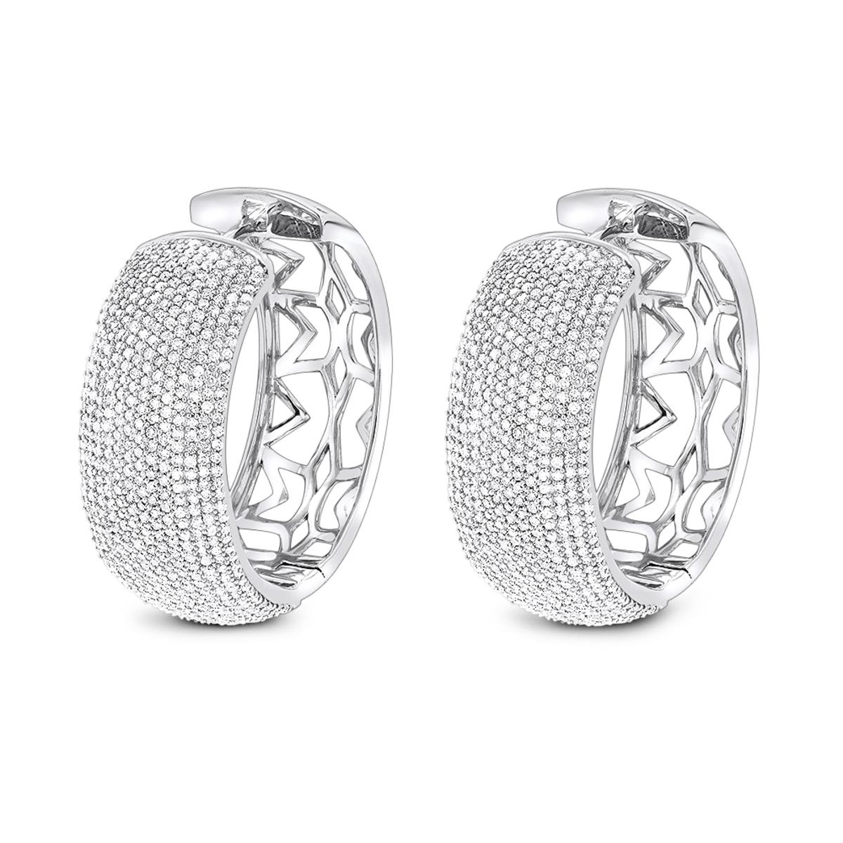 Pave Diamond Large Hoop Earrings 3.59ct 14K Gold