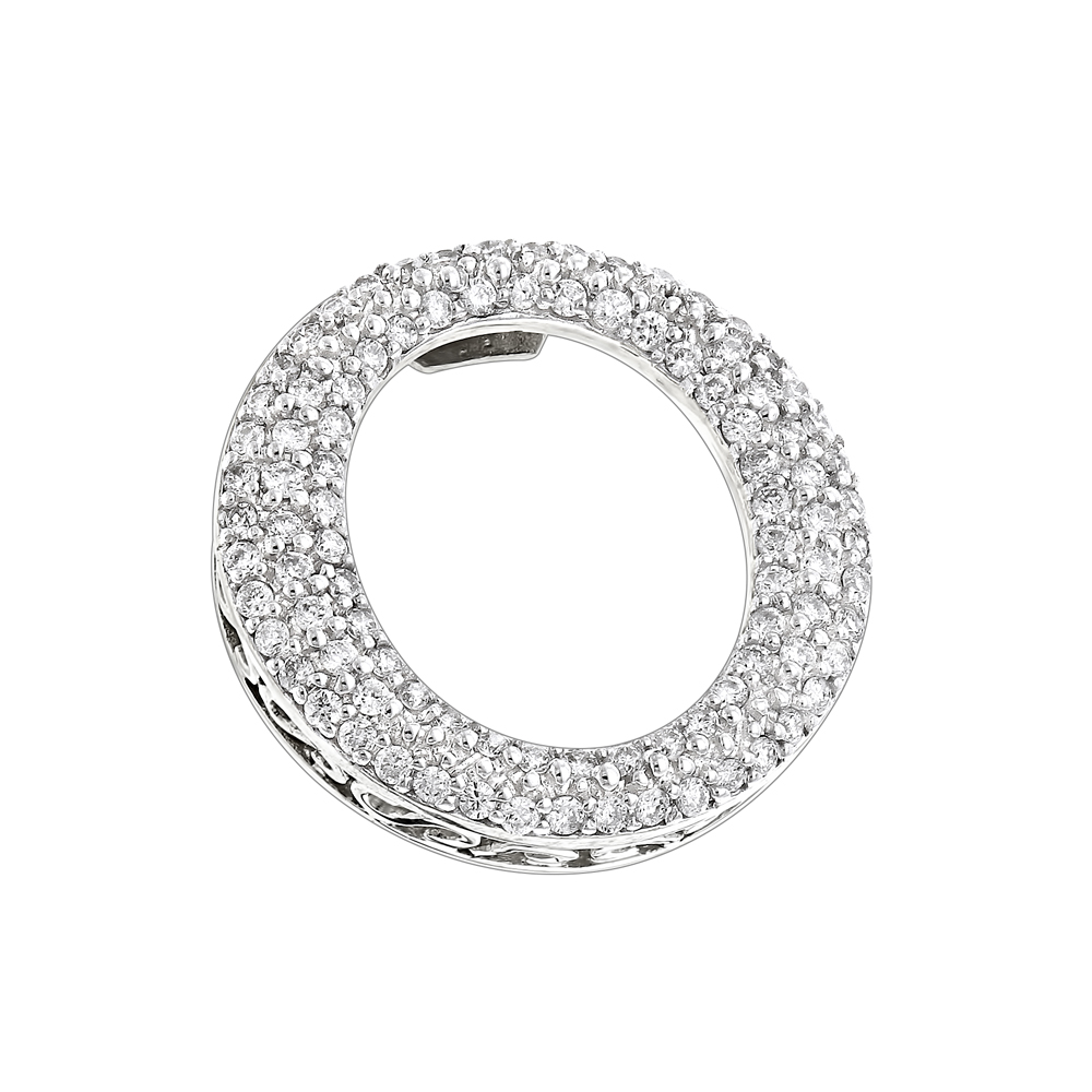 Pave Diamond O Pendant 0.4ct 14K Gold Circle Jewelry