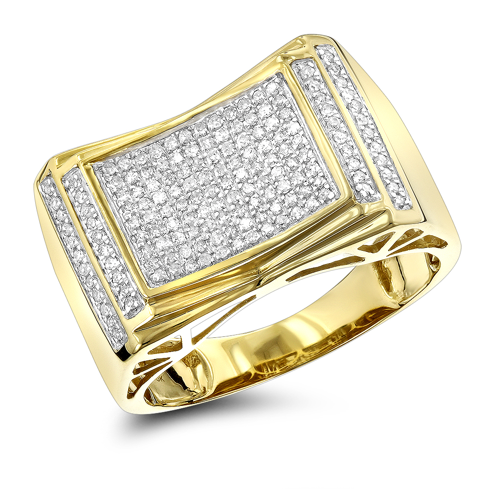 Pave Diamond Ring for Men 10k Yellow Gold White Gold Rose Gold 1/2ct