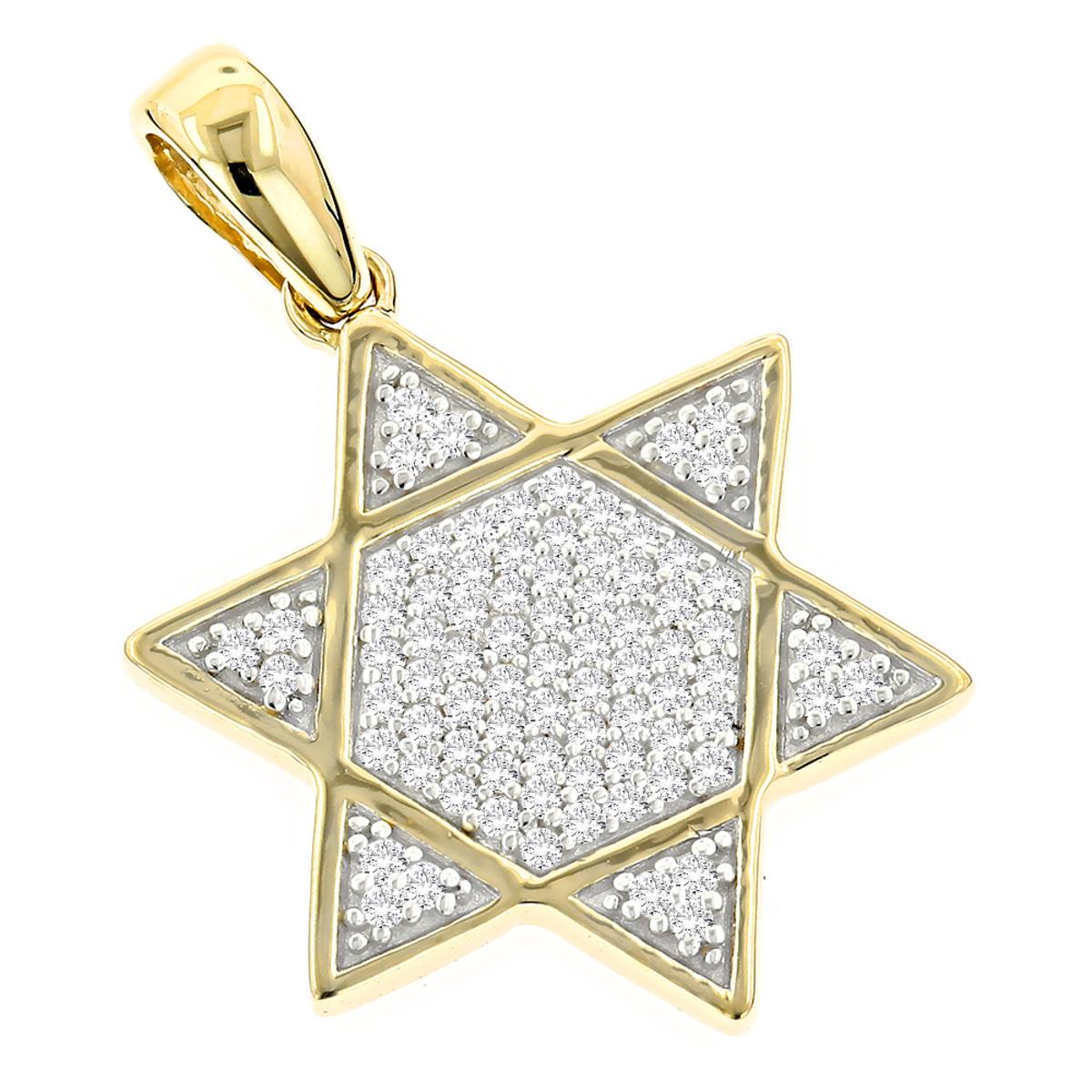 Pave Diamond Star of David Gold Unisex Pendant 14K Gold 0.25ct