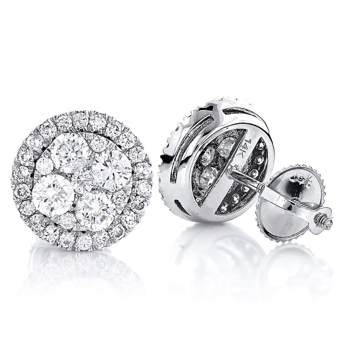 Pave Diamond Stud Cluster Earrings 1.46ct 14K Gold