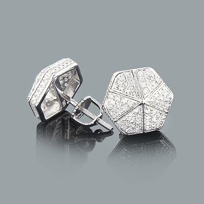 Pave Diamond Stud Earrings 0.15ct Sterling Silver