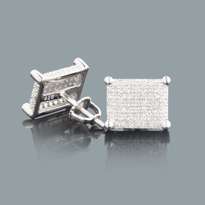 Pave Diamond Stud Earrings 0.37ct Sterling Silver