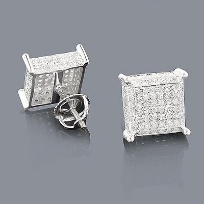 1 Carat Pave Diamond Stud Earrings 10K Gold