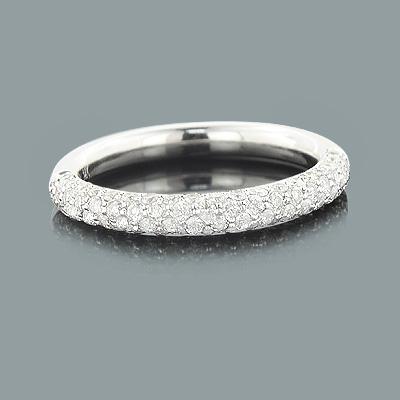 Thin Pave Diamond Wedding Band 0.86ct 14K Gold