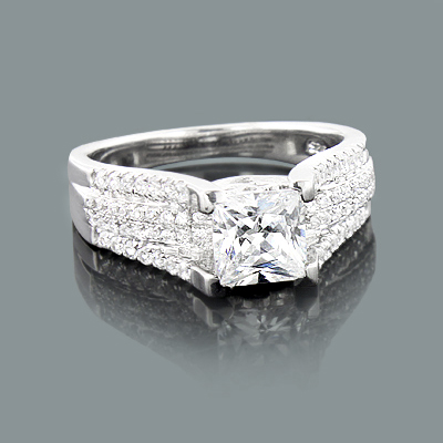 Pave Engagement Ring Setting with Round Diamonds 0.46ct 14K