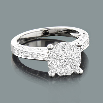 Pave Engagement Rings: Ladies Diamond Ring 1.50ct 14K Gold