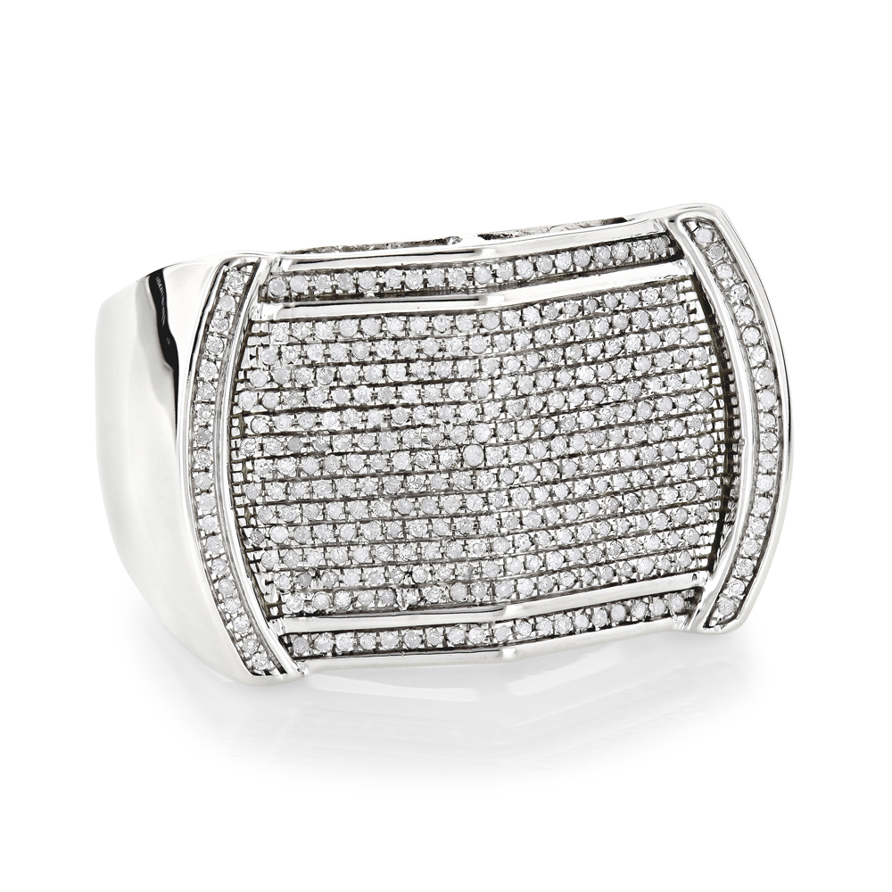 Pave Mens Diamond Ring 0.65ct 10K Gold Unique Band