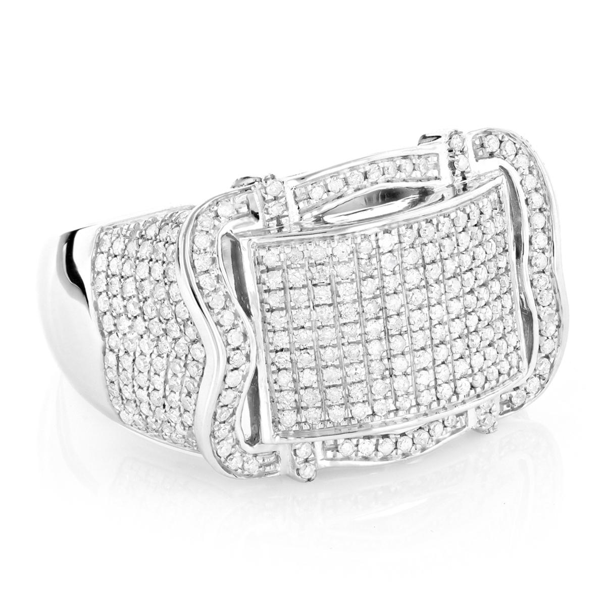 Pave Mens Diamond Ring 1ct 10K Gold