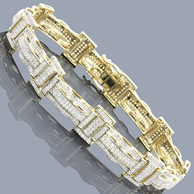 Pave Real Diamond Bracelet 10K 3.18ct