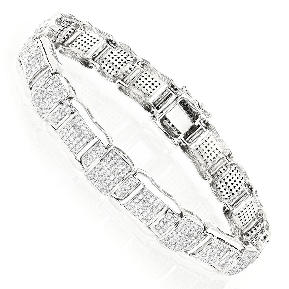Pave Real Diamond Bracelet 10K 4.71ct