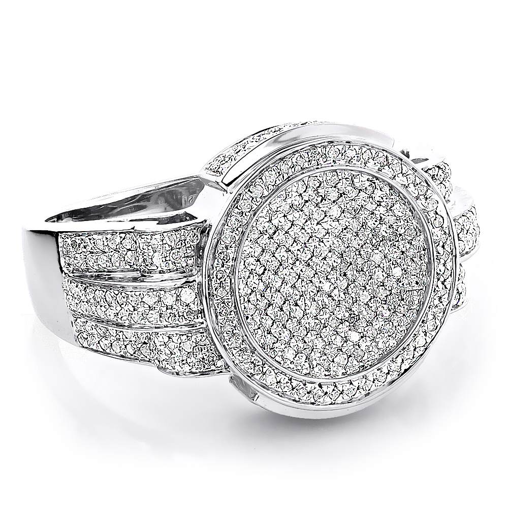 Pave Round Diamond Rings For Men 1.15ct 10K Gold Pinky Ring